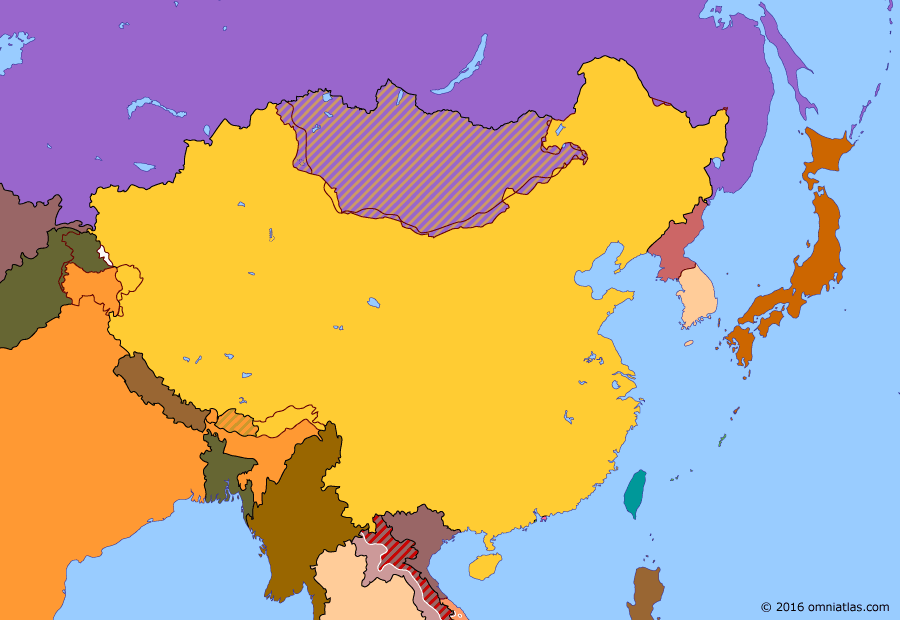 Political map of China, Japan, Korea, and Mongolia on 19 Nov 1962 (China under Mao: Sino-Indian War), showing the following events: Great Leap Forward; Tibetan uprising; Sino-Indian War.
