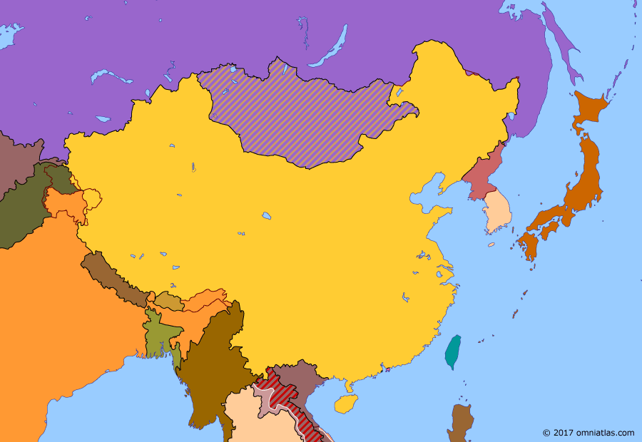 Political map of China, Japan, Korea, and Mongolia on 19 Jan 1974 (China under Mao: Battle of the Paracel Islands), showing the following events: Bangladeshi Liberation War; U.N. Resolution 2758; Nixon visit to China; Ryukyu Islands restored; Paris Peace Accords; Battle of the Paracel Islands.