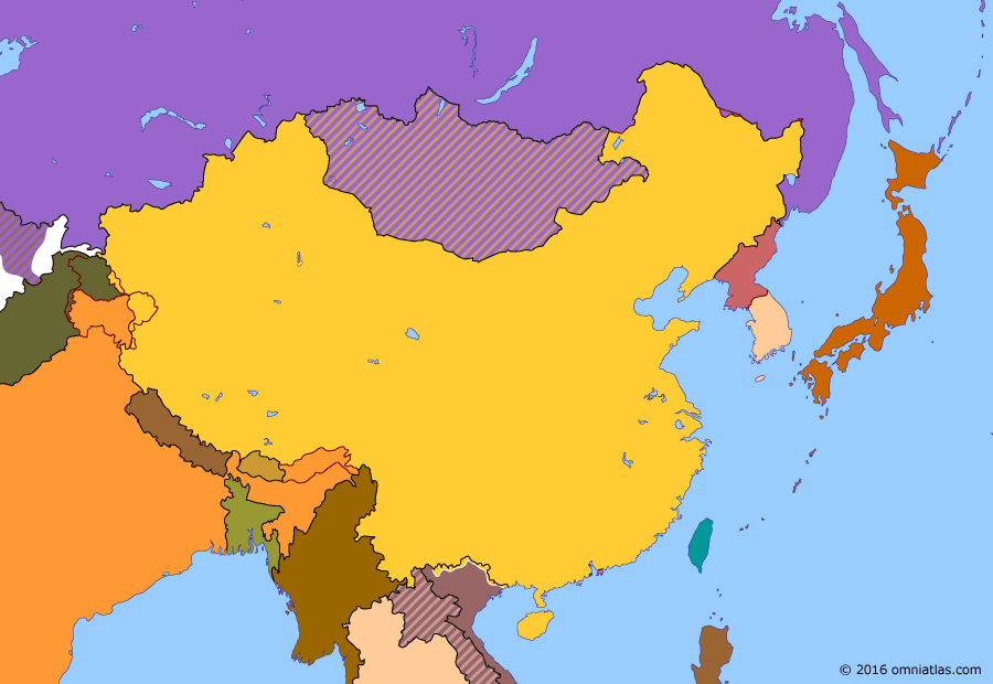 Political map of China, Japan, Korea, and Mongolia on 05 Mar 1979 (China after Mao: Sino-Vietnamese War), showing the following events: Spring Offensive; Fall of Vientiane; Death of Mao Zedong; Fall of the Gang of Four; Rise of Deng Xiaoping; Vietnamese invasion of Cambodia; Sino-Vietnamese War.