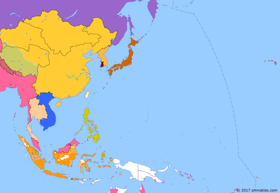Political map of East Asia and the Western Pacific on 09 Jun 1894 (The Rise of Japan: Donghak Peasant Revolution), showing the following events: Franco-Siamese Treaty; First Donghak Revolt; Japanese landing in Incheon; Chinese landing in Asan.