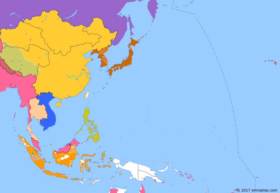 Political map of East Asia and the Western Pacific on 17 Apr 1895 (The Rise of Japan: Treaty of Shimonoseki), showing the following events: Battle of the Yalu River; Battle of Ugeumchi; Battle of Lushunkou; 1895 Wilcox Rebellion; Battle of Weihaiwei; Pescadores Campaign; Treaty of Shimonoseki.