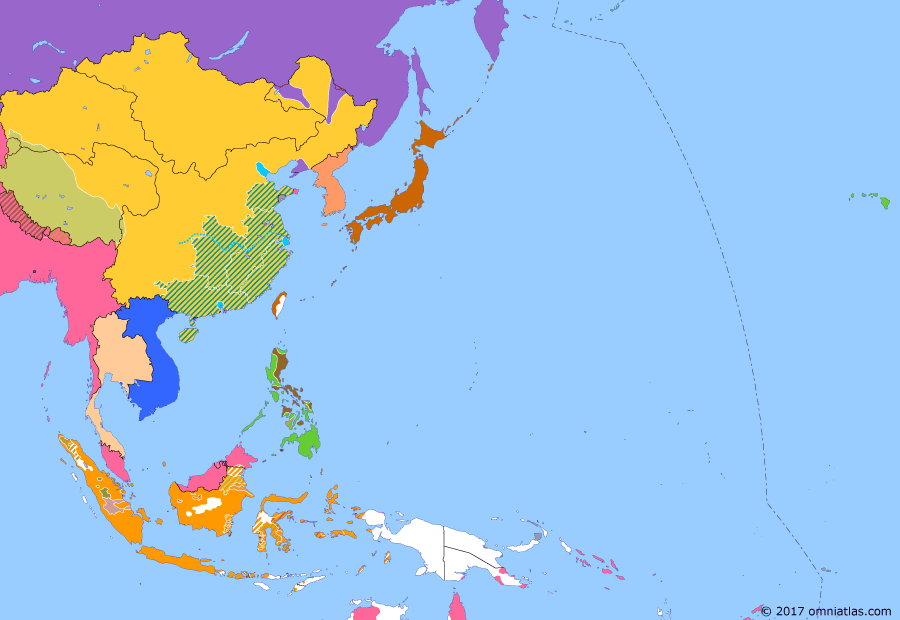 Political map of East Asia and the Western Pacific on 14 Aug 1900 (The Rise of Japan: Battle of Peking), showing the following events: Battle of the Taku Forts; Siege of the International Legations; Mutual Protection of Southeast China; Imperial declaration of war; Battle of Tientsin; Battle of Peking.