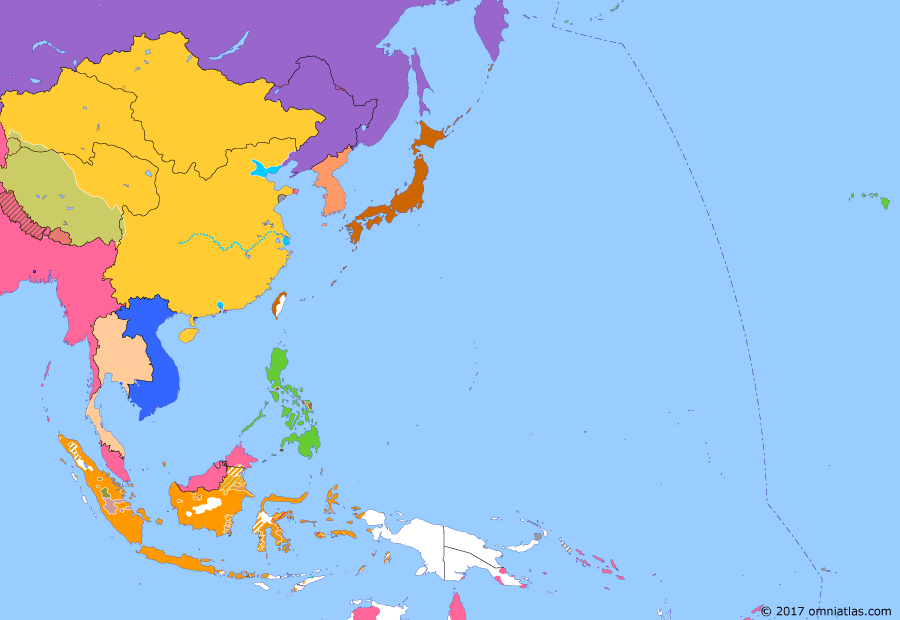 Political map of East Asia and the Western Pacific 7 September 1901 (Boxer Protocol): In August 1900, the Allies captured Peking (Battle of Peking (1900)), defeating the remnants of the Boxer Rebellion over the following year. Peace was concluded with the Boxer Protocol, in which the Allies forced China to pay a large indemnity and allow continued foreign military access to Peking as a guard against future uprisings.