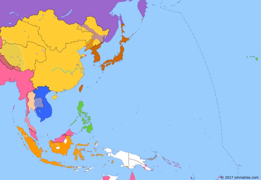 Political map of East Asia and the Western Pacific 8 April 1907 (Anglo-French Agreement on Siam): The Russo-Japanese War (Russo-Japanese War) had threatened to embroil France and Britain, the allies of the two combatants. To preserve the peace between them, they signed the Entente Cordiale (Entente Cordiale). In Asia, this led to the division of Siam into spheres of influence in 1907 and the subsequent expansion of French Indochina and British Malaya at Siam's expense (Anglo-Siamese Treaty of 1909).