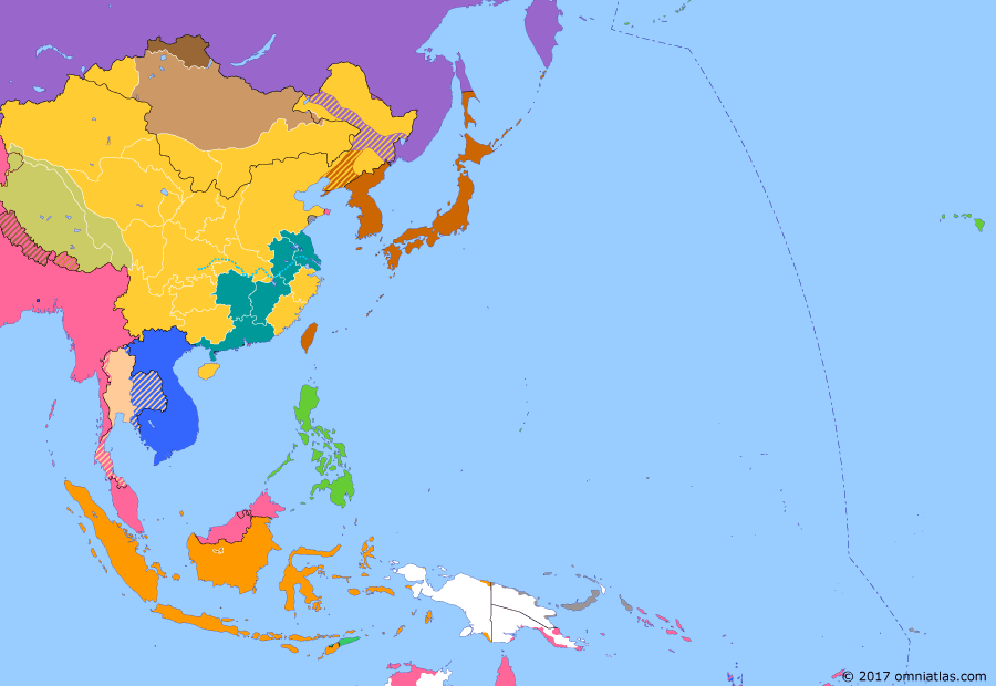 Political map of East Asia and the Western Pacific on 28 Jul 1913 (Warlords and Revolutionaries: Second Chinese Revolution), showing the following events: Tibetan Independence; Second Chinese Revolution.