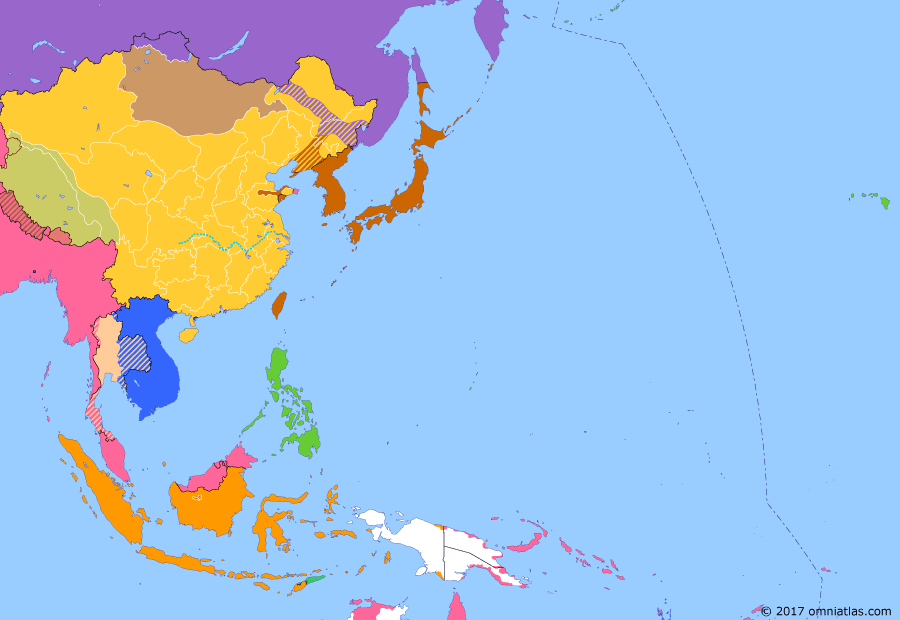 Political map of East Asia and the Western Pacific on 18 Jan 1915 (Warlords and Revolutionaries: Japan's Twenty-One Demands), showing the following events: Japan occupies Mariana Is.; Siege of Tsingtao; Japan's Twenty-One Demands.