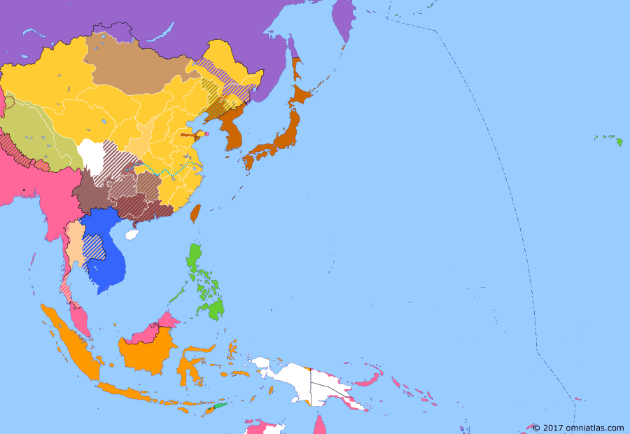 Political map of East Asia and the Western Pacific on 06 Jun 1916 (Warlords and Revolutionaries: China's Warlord Era Begins), showing the following events: Hongxian Emperor; National Protection War; Restoration of Republic of China; Death of Yuan Shikai.