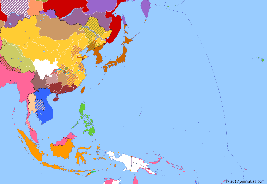 Political map of East Asia and the Western Pacific on 15 Dec 1917 (Warlords and Revolutionaries: Russian Revolution), showing the following events: Anhui and Zhili cliques; Manchu Restoration; Siam enters World War I; Entry of China into World War I; Duan Qirui's Hunan debacle; October Revolution; Spanish Flu in East Asia.