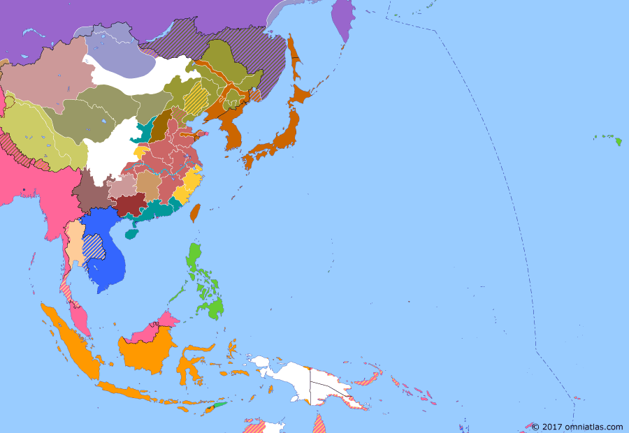 Political map of East Asia and the Western Pacific on 25 Jun 1921 (Warlords and Revolutionaries: Russia in Mongolia), showing the following events: Guangdong-Guangxi War; South Pacific Mandate; Ungern-Sternberg takes Urga, Mongolia.