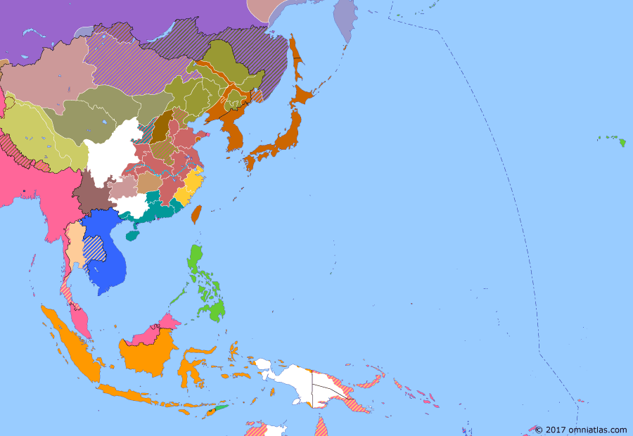 Political map of East Asia and the Western Pacific on 06 Feb 1922 (Warlords and Revolutionaries: Washington Naval Conference), showing the following events: Outer Mongolian Revolution of 1921; Washington Naval Conference; Sun Yatsen launches northern expedition, invading southern Hunan.; Washington Naval Conference.