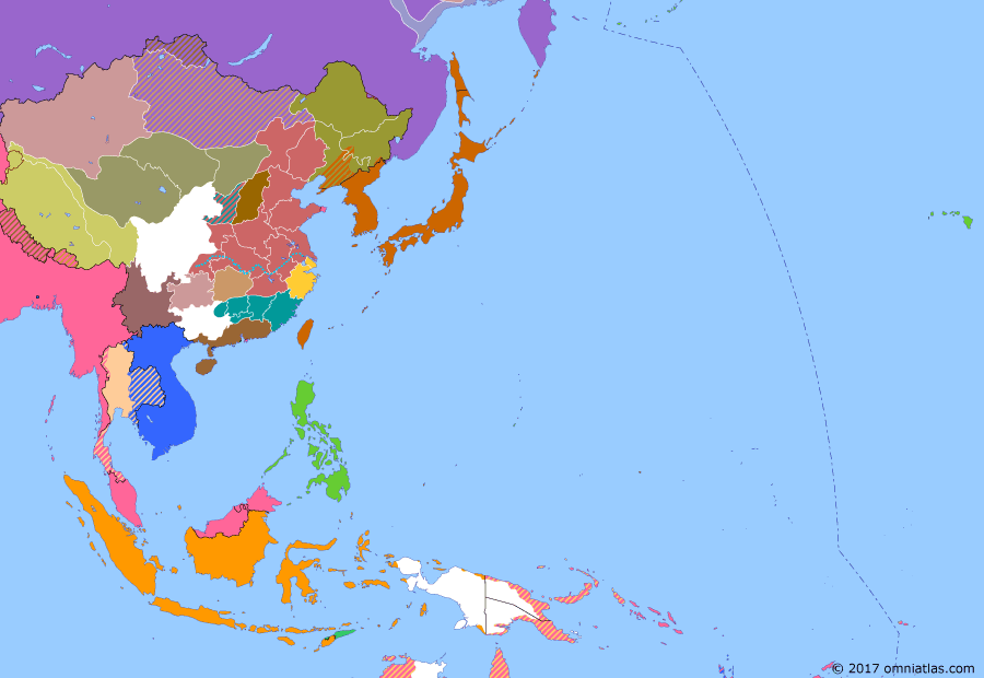 Political map of East Asia and the Western Pacific on 30 Dec 1922 (Warlords and Revolutionaries: Japanese Withdrawal), showing the following events: First Zhili-Fengtian War; Sun Yatsen flees Guangdong after Chen Jiongming turns against him; Japanese troops withdraw from Vladivostok.; Japanese troops withdraw from Manchuria.; Soviet Russia annexes Far Eastern Republic.; Japanese withdraw from Kiautschou Bay/Qingdao.