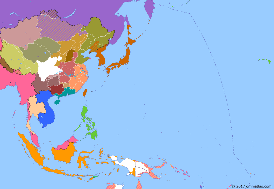 Political map of East Asia and the Western Pacific on 24 Apr 1926 (Warlords and Revolutionaries: Anti-Fengtian War), showing the following events: Guo Songling's rebellion against Fengtian clique; Powers push China to dismantle Dagu forts; March 18 Massacre in Beijing; Fengtian clique captures Beijing.