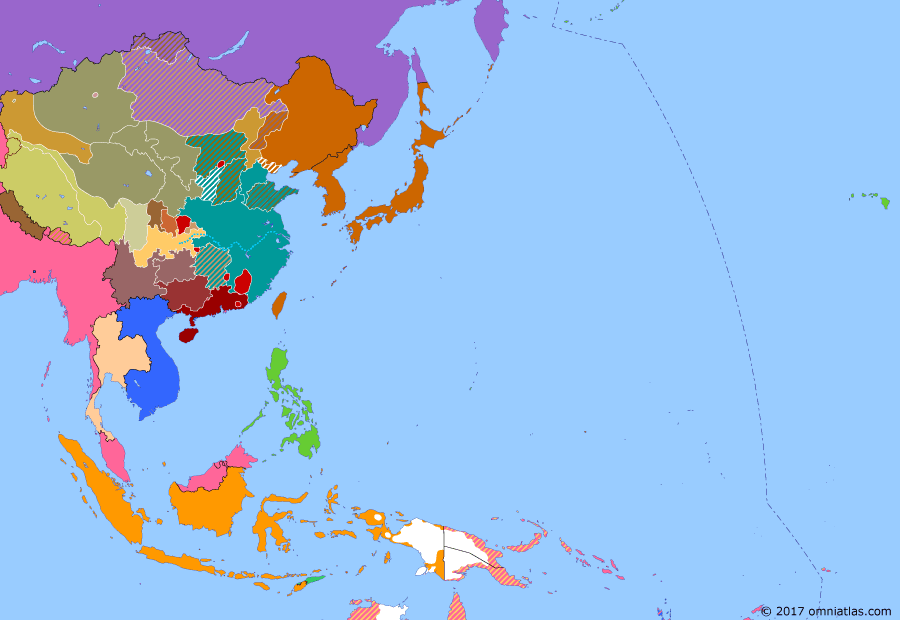 Political map of East Asia and the Western Pacific on 31 May 1933 (China's Nanjing Decade: Tanggu Truce), showing the following events: Uprising in western Mongolia, crushed with Soviet support; Japan occupies Jehol; Japan withdraws from League of Nations; Japanese backed General Liu Guitang invades Chahar  ; Tanggu Truce.