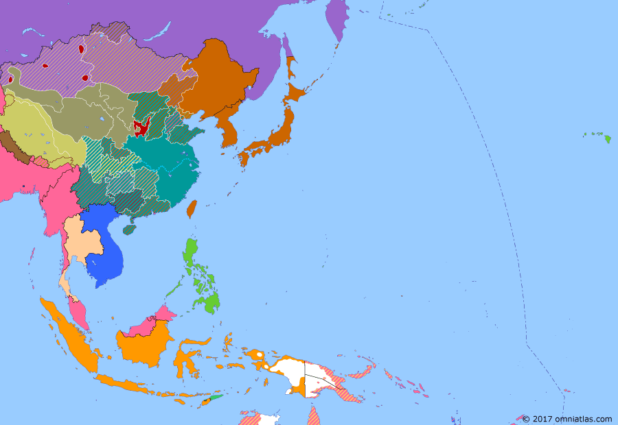 Political map of East Asia and the Western Pacific 7 July 1937 (Marco Polo Bridge Incident): Many Chinese Nationalists (Kuomintang) saw Japan as the main threat and were unhappy with Chiang Kaishek's focus on destroying the Communists (Long March). In late 1936, they stepped in to force him to accept a United Front against Japan (Xian Incident). Conflict erupted in Beiping (then the name for Beijing) in July the next year, when edgy Nationalist troops fired on Japanese performing military maneuvers at Marco Polo Bridge (Marco Polo Bridge Incident).