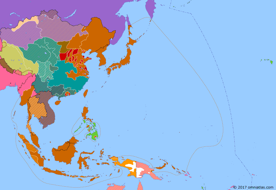Political map of East Asia and the Western Pacific 18 April 1942 (Doolittle Raid): In April, with the Japanese on the advance everywhere (Pacific War), the United States launched their reprisal for the Pearl Harbor attack (Attack on Pearl Harbor). This, the Doolittle Raid, consisted of bombers launched from an aircraft carrier with the intention of striking Japan and crash-landing in China. It achieved little militarily, but demonstrated to the world that Japan was still vulnerable.