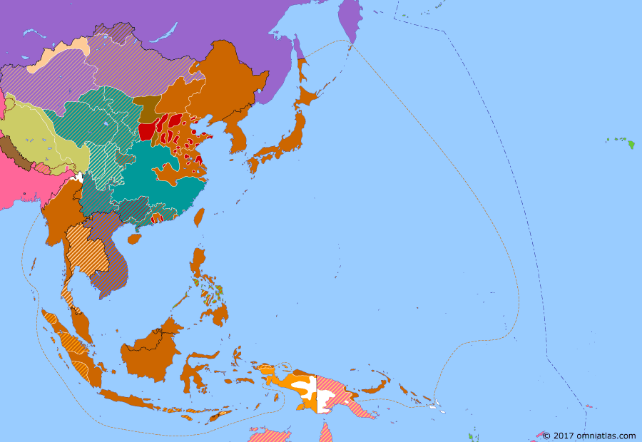 Political map of East Asia and the Western Pacific on 08 May 1942 (WWII: The Greater East Asia War: Battle of the Coral Sea), showing the following events: Japanese conquer Burma; Invasion of Tulagi; Battle of the Coral Sea; US forces in the Philippines surrender to Japan.
