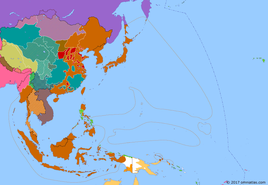 Political map of East Asia and the Western Pacific on 03 Mar 1945 (WWII: Victory Over Japan: Philippines Campaign), showing the following events: Battle of Luzon; Battle of Manila; Yalta Conference; Battle of Iwo Jima.