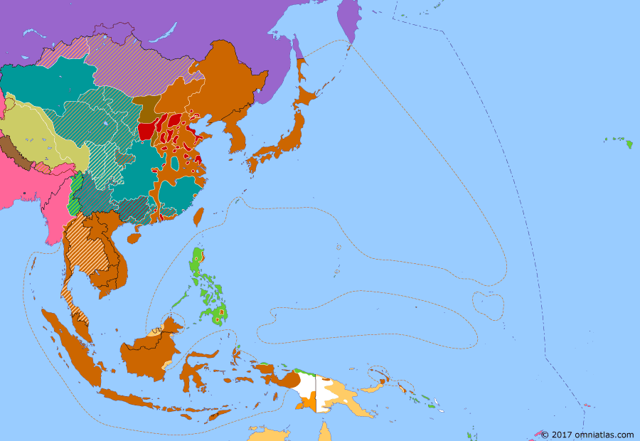 Political map of East Asia and the Western Pacific on 06 Aug 1945 (WWII: Victory Over Japan: Bombing of Hiroshima), showing the following events: Battle of West Hunan; Battle of North Borneo; Australian troops land at Balikpapan, Dutch Borneo; Potsdam Declaration; Atomic bombing of Hiroshima.