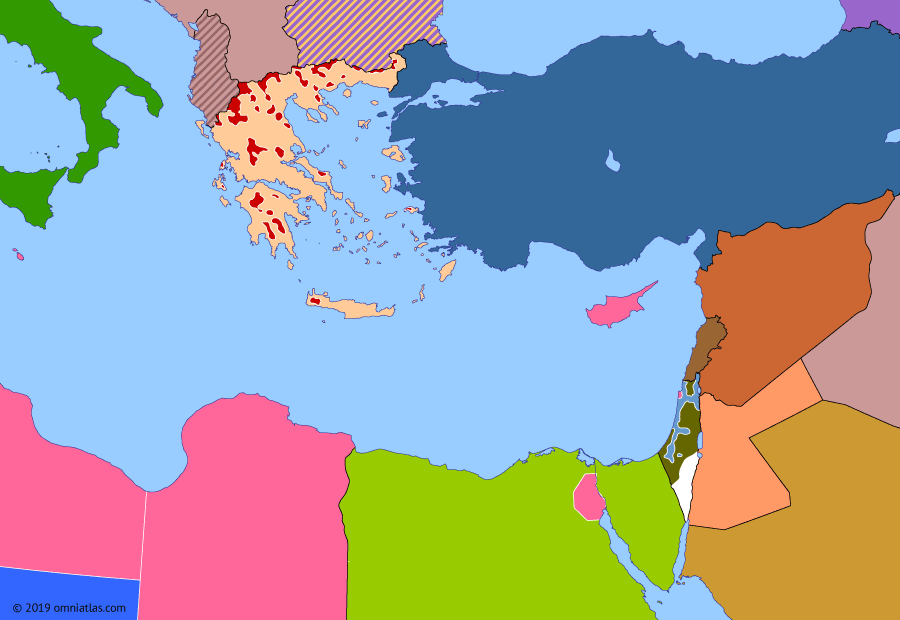 Political map of the Eastern Mediterranean on 15 May 1948 (The Arab–Israeli Wars: End of Mandatory Palestine), showing the following events: Truman Doctrine; Partition of India; UN Partition Plan for Palestine; Civil war in Mandatory Palestine; Al-Wathbah uprising; Israeli Declaration of Independence; End of Mandatory Palestine; Outbreak of Arab-Israeli War.