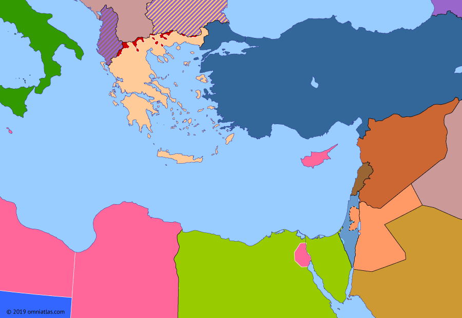 Political map of the Eastern Mediterranean on 11 May 1949 (The Arab–Israeli Wars: UN Recognition of Israel), showing the following events: 1949 Armistice Agreements; Emirate of Cyrenaica; Operation Uvda; North Atlantic Treaty; UN Recognition of Israel.