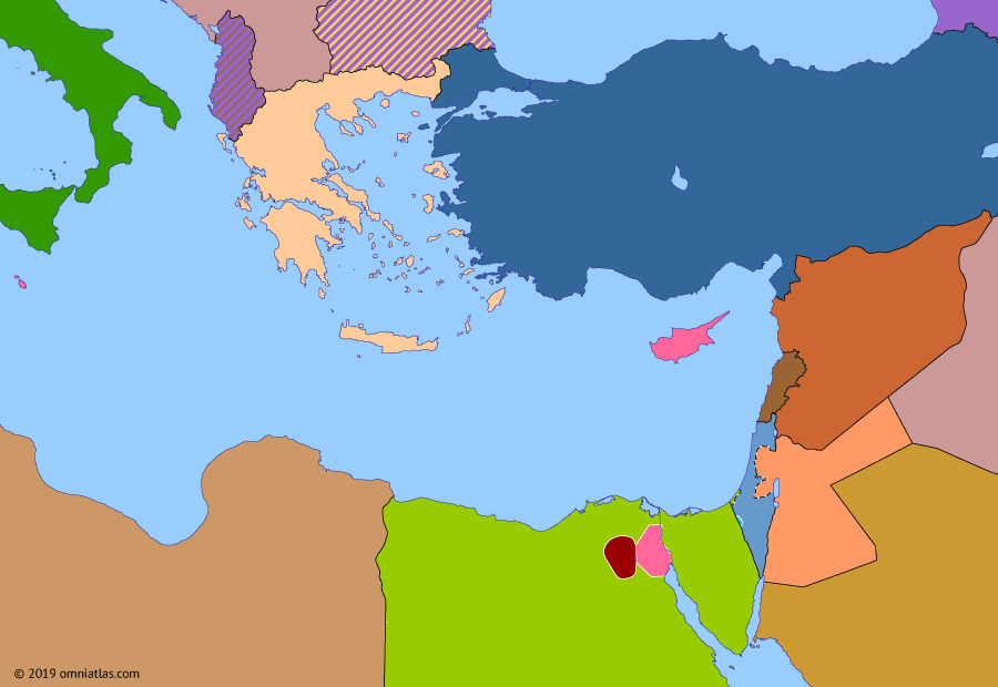 Political map of the Eastern Mediterranean 23 July 1952 (Egyptian Revolution): Following the 1949 armistices with Israel, what remained of Palestine was dismembered when Jordan annexed the West Bank (Jordanian annexation of the West Bank) and Egypt set up an administration in Gaza (Occupation of the Gaza Strip by Egypt). Egypt's poor performance in the war further discredited the corrupt King Farouk (Farouk of Egypt), who attempted to appeal to nationalism by demanding that the British withdraw from the Suez Canal Zone. When the British rejected his demands, the king proved unable to contain the ensuing instability, and in July 1952 disaffected Egyptian officers swiftly deposed him (Egyptian revolution of 1952).