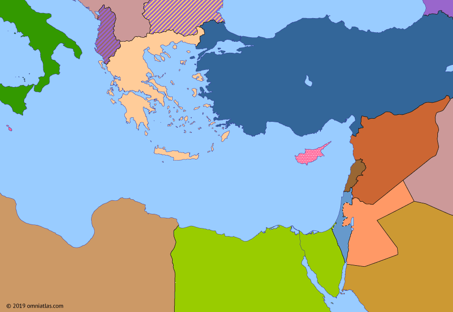 Political map of the Eastern Mediterranean on 13 Jun 1956 (The Arab–Israeli Wars: Rise of Nasser), showing the following events: Abolition of Egyptian Monarchy; British evacuation from Egypt; Toussaint Rouge; Baghdad Pact; Cyprus Emergency; Warsaw Pact; Independence of Sudan.