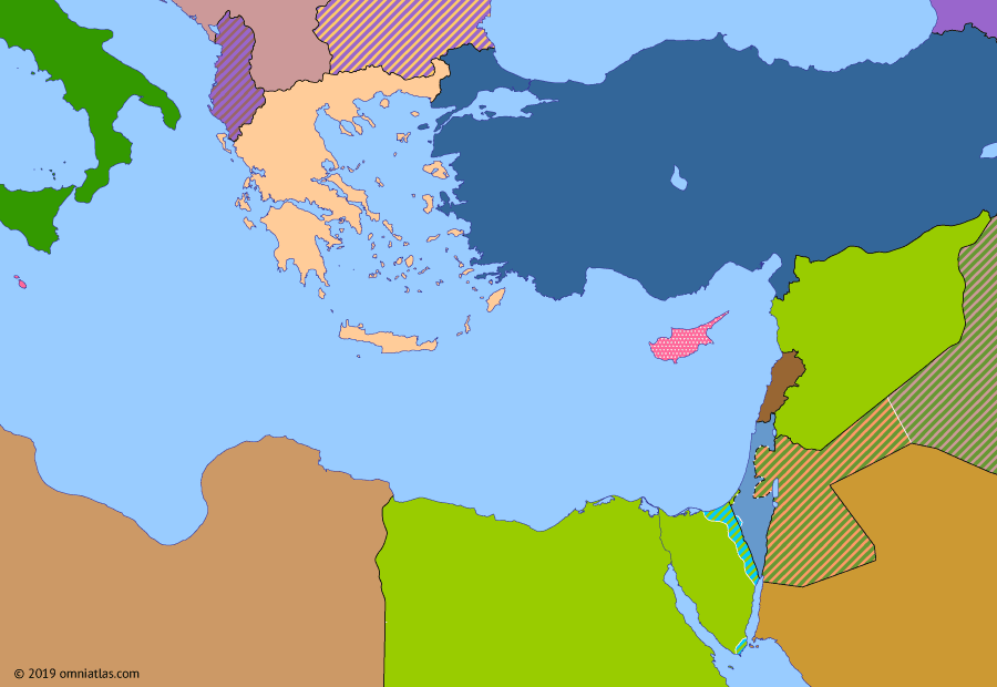 Political map of the Eastern Mediterranean on 22 Feb 1958 (The Arab–Israeli Wars: United Arab Republic), showing the following events: Syrian Crisis of 1957; Arab Federation; United Arab Republic.