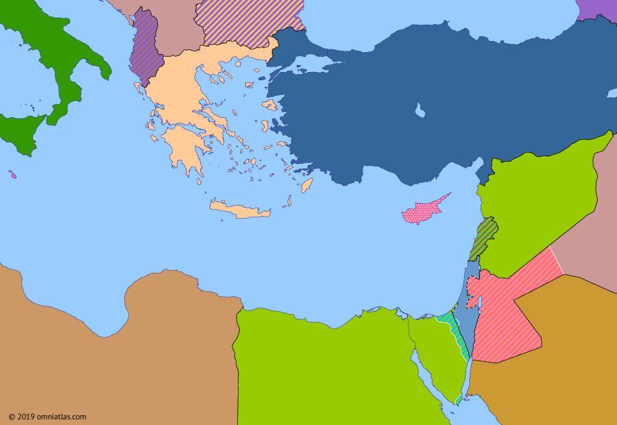 Political map of the Eastern Mediterranean on 19 Jul 1958 (The Arab–Israeli Wars: Nasser's Zenith), showing the following events: United Arab States; 14 July Revolution; Operation Blue Bat; British Intervention in Jordan.