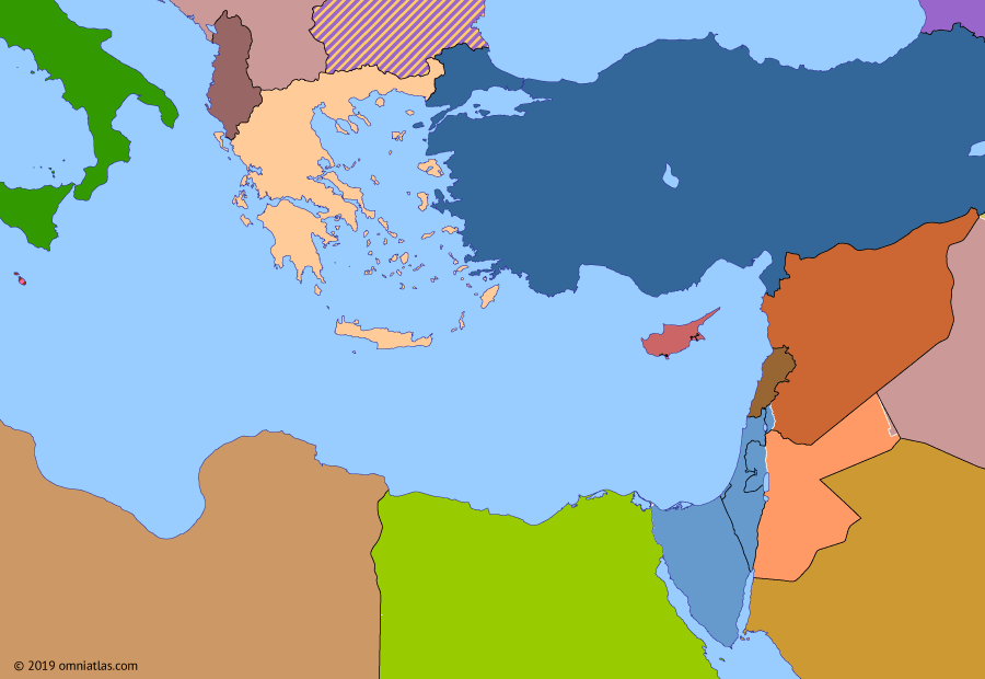 Political map of the Eastern Mediterranean on 10 Jun 1967 (The Arab–Israeli Wars: Six-Day War), showing the following events: 1966 Syrian Coup; French withdrawal from NATO; 1966 Dimona Test; Greek Military Junta; Arab deployment against Israel; Israeli Conquest of Sinai; Disbandment of the Mediterranean Fleet; Jordanian Campaign; Golan Heights Campaign.