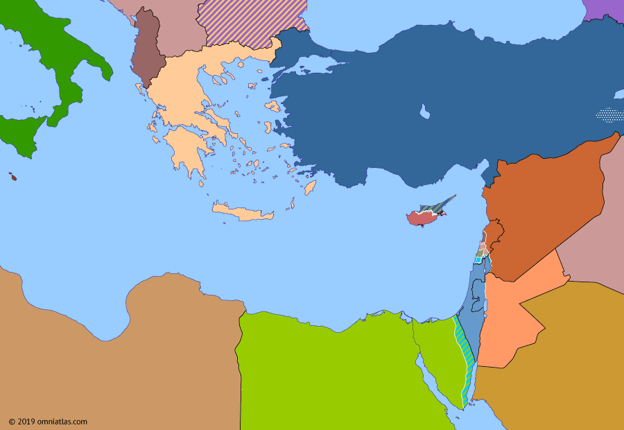 Political map of the Eastern Mediterranean on 19 May 1986 (After the Yom Kippur War: War of the Camps), showing the following events: First P.K.K. uprising; South Lebanon conflict; War of the Camps; Egyptian conscripts riot; Damascus bombings.