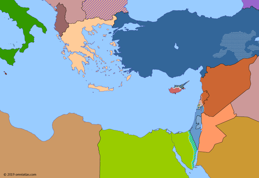 Political map of the Eastern Mediterranean on 15 Nov 1988 (After the Yom Kippur War: First Intifada), showing the following events: First Intifada; War of Brothers; Soviet withdrawal from Afghanistan; Jordanian cession of West Bank.
