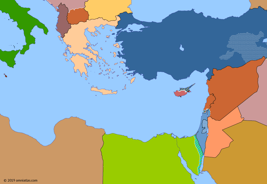Political map of the Eastern Mediterranean on 17 Sep 1991 (After the Yom Kippur War: Collapse of the Eastern Bloc), showing the following events: War of Liberation; Taif Agreement; Fall of the Berlin Wall; End of Communism in Bulgaria; Invasion of Kuwait; End of Lebanese Civil War; Operation Desert Storm; Independence of Georgia; Independence of Slovenia and Croatia; Independence of North Macedonia.