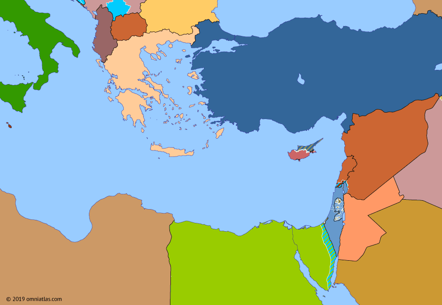 Political map of the Eastern Mediterranean on 29 Sep 2000 (After the Yom Kippur War: Second Intifada), showing the following events: Oslo II Accord; Kosovo War; Israeli evacuation of South Lebanon; Second Intifada.