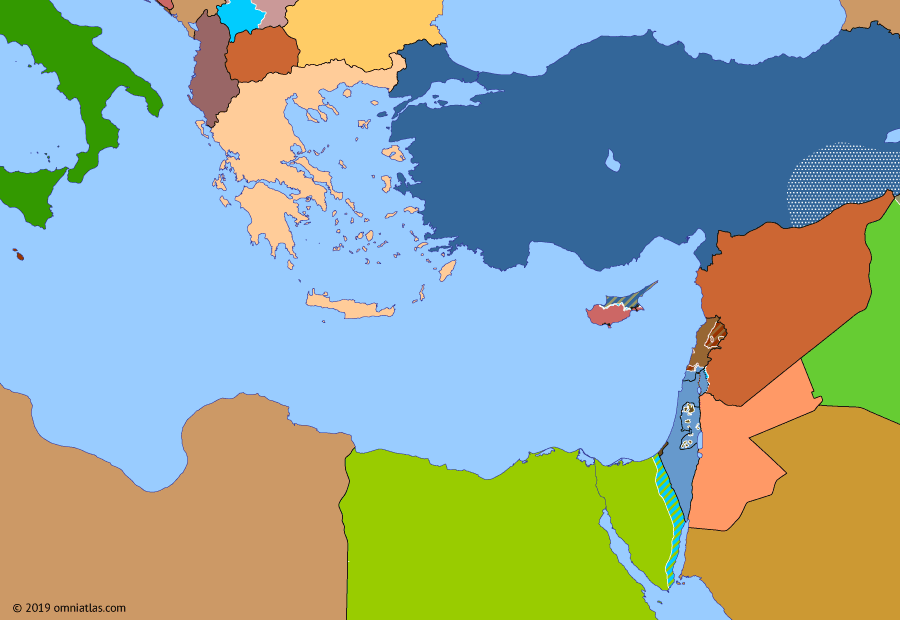 Political map of the Eastern Mediterranean on 22 Jul 2006 (After the Yom Kippur War: 2006 Lebanon War), showing the following events: Operation Iraqi Freedom; Second P.K.K. uprising; Cedar Revolution; Israeli disengagement from Gaza; Independence of Montenegro; 2006 Lebanon War.