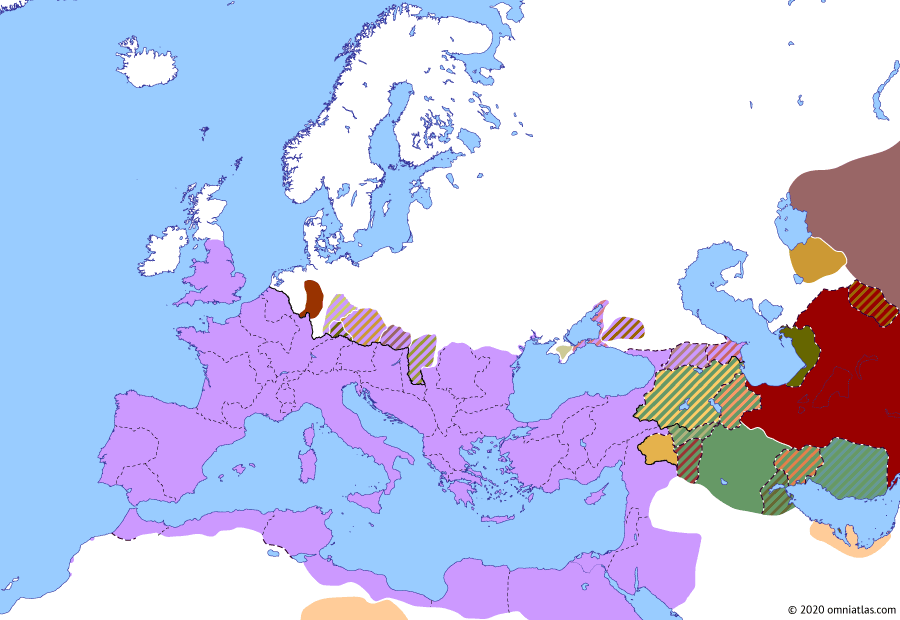 Political map of Europe & the Mediterranean on 19 Oct 113 (The Nerva–Antonine Dynasty: Outbreak of Trajan's Parthian War), showing the following events: Epirus Vetus; Accession of Abgar VII; Parthian Civil War of 109–129; Amnis Traianus; Axidares of Armenia; Bithynia et Pontus; Outbreak of Trajan's Parthian War.