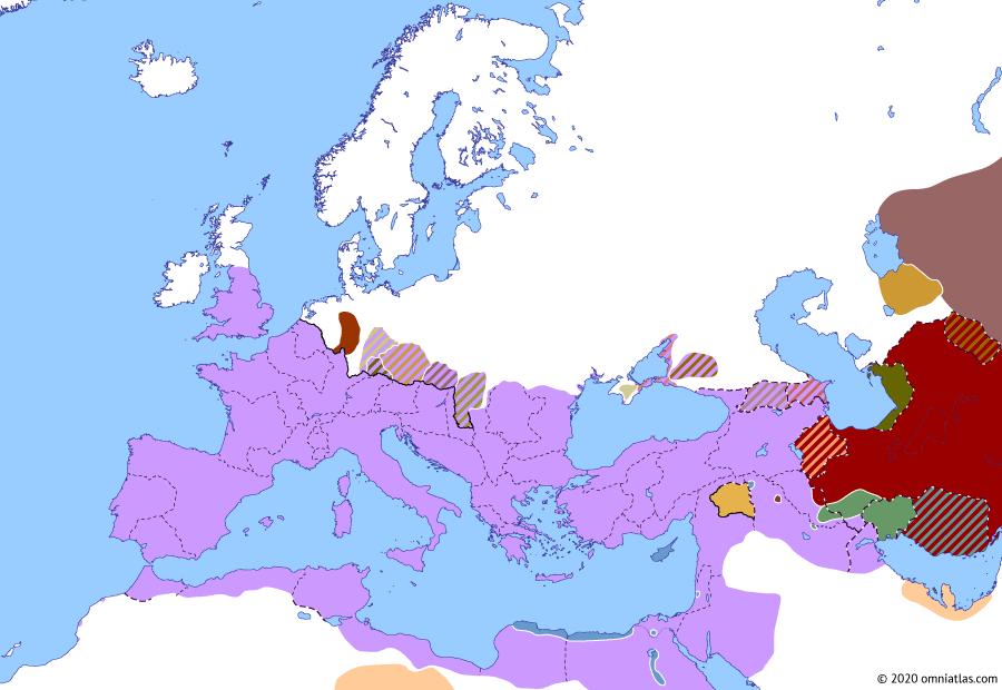 Political map of Europe & the Mediterranean on 15 Sep 116 (The Nerva–Antonine Dynasty: Trajan's Parthian campaign), showing the following events: Trajan's Parthian campaign; Roman Mesopotamia; Roman Mesene; Parthian revolt against Trajan.