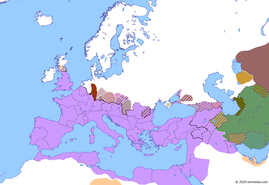 Political map of Europe & the Mediterranean on 24 Apr 166 (The Nerva–Antonine Dynasty: Lucius Verus' Parthian War), showing the following events: Chatti–Chauci raids of 162; Lucius Verus' Armenian Campaign; Parthian Occupation of Osroene; Antonine Wall abandoned; Lucius Verus' Parthian Campaign; Antonine Plague; Lucius Verus' Median Campaign; Tres Daciae.