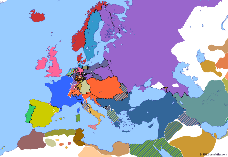 Political map of Europe & the Mediterranean on 14 Jan 1814 (Napoleonic Wars: Treaty of Kiel), showing the following events: Murat's infiltration; Army of Bohemia; Blücher's Rhine Crossing; Betrayal of Murat; Treaty of Kiel.