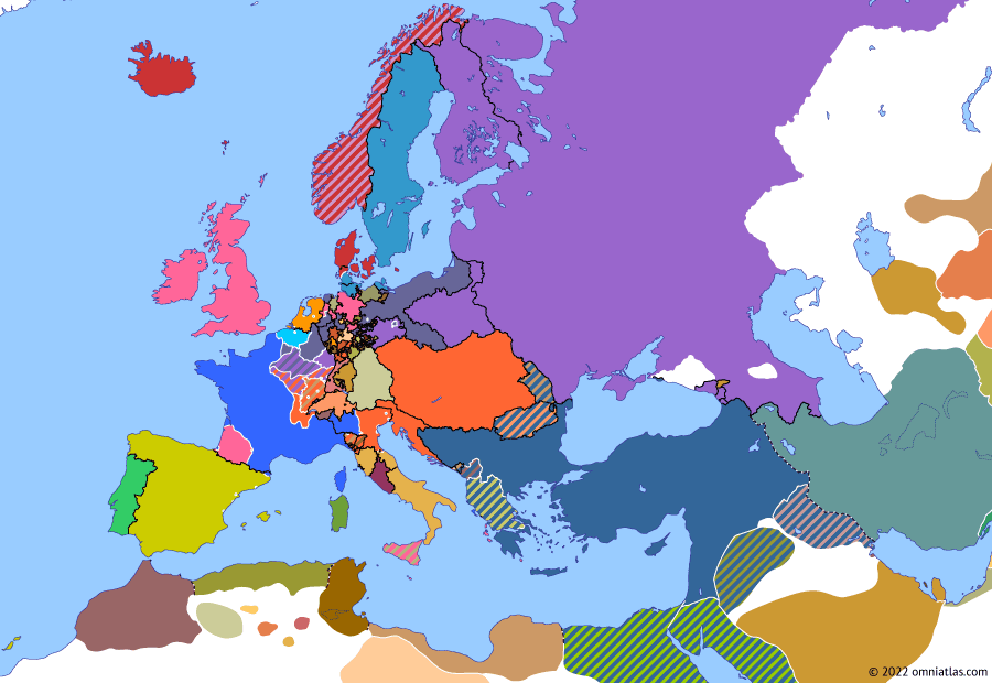 Political map of Europe & the Mediterranean on 11 Apr 1814 (Napoleonic Wars: Treaty of Fontainebleau), showing the following events: Battle of Arcis-sur-Aube; Battle of Paris; Battle of Toulouse; Treaty of Fontainebleau.