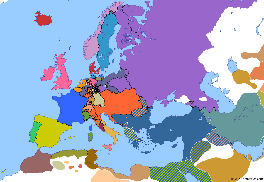 Political map of Europe & the Mediterranean on 01 Nov 1814 (Napoleonic Wars: Congress of Vienna), showing the following events: Swedish–Norwegian War of 1814; Hadži-Prodan's rebellion; Congress of Vienna.