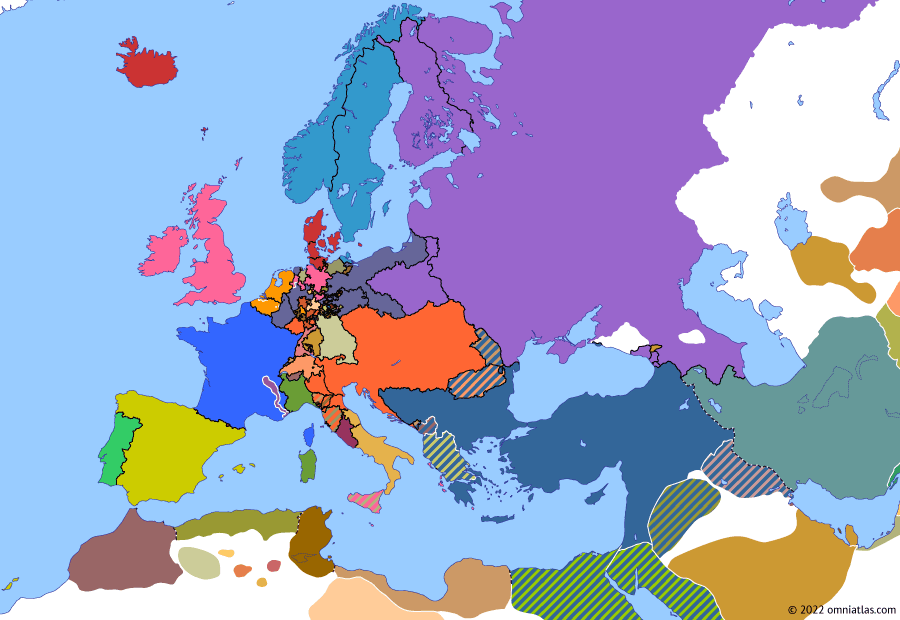 Political map of Europe & the Mediterranean on 13 Mar 1815 (Napoleonic Wars: Napoleon's Return), showing the following events: Union between Sweden and Norway; Duchy of Genoa; Treaty of Ghent; Escape from Elba; Napoleon's Return; Declaration at the Congress of Vienna.