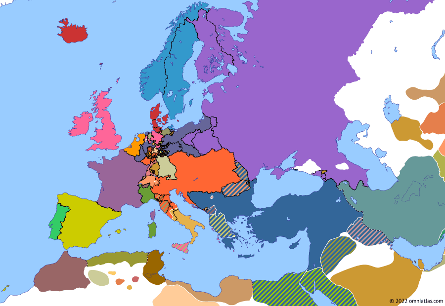 Political map of Europe & the Mediterranean 3 May 1815 (Congress Poland): During the 1813 campaign against Napoleon (War of the Sixth Coalition), Prussia had agreed to the Russian rule over the Duchy of Warsaw in return for getting Saxony (Treaty of Kalisz (1813)). However, Austria and Britain opposed the deal, causing friction between the four powers. The situation was resolved in 1815 with the fourth partition of Poland between a Russian-dominated Polish Kingdom (Congress Poland), a Grand Duchy of Posen under Prussia, and a Free City of Cracow under the protection of its neighbors. Prussia was also granted much—but not all—of Saxony (Kingdom of Saxony)'s territory, as well as Swedish Pomerania.