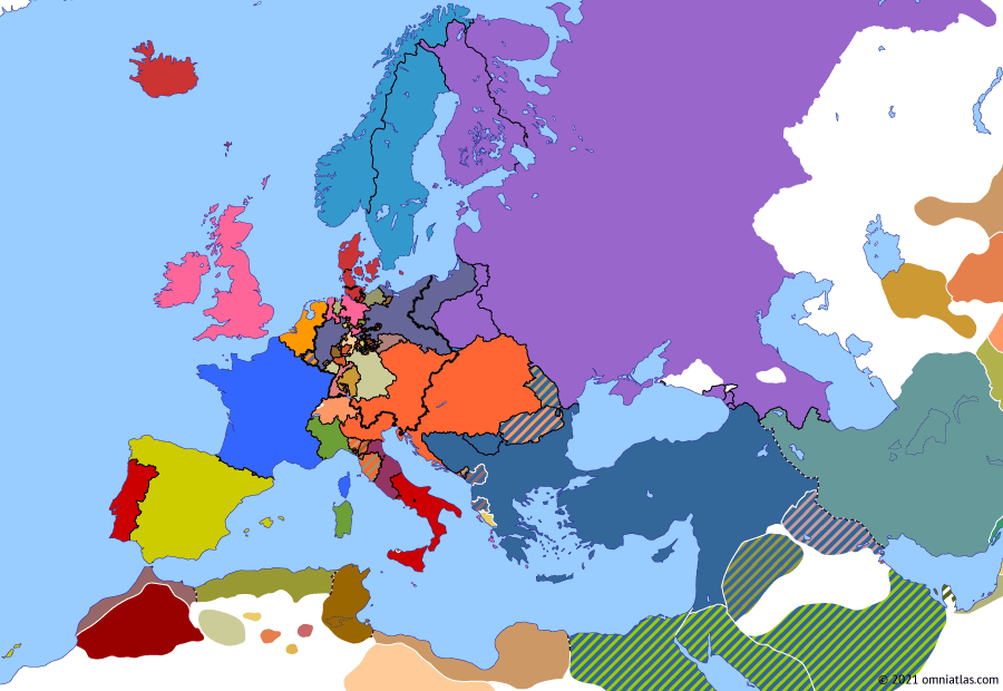 Political map of Europe & the Mediterranean on 28 Sep 1820 (Congress Europe: Revolutions of 1820), showing the following events: Peterloo Massacre; Carlsbad Decrees; Riego's Revolution; Ali Pasha's Rebellion; Carbonari Revolution; Liberal Revolution in Oporto.