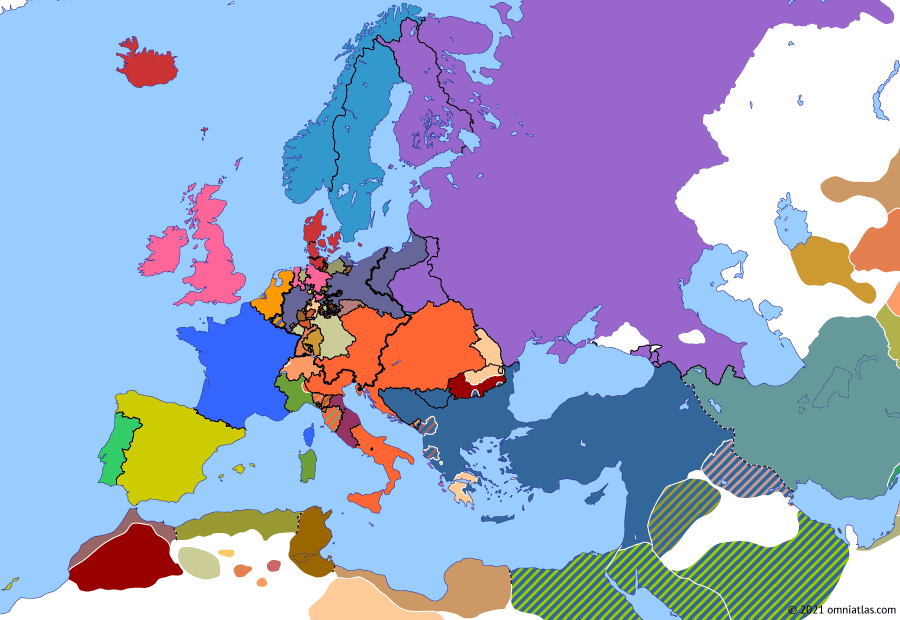Political map of Europe & the Mediterranean on 22 Apr 1821 (Congress Europe: Greek War of Independence), showing the following events: Congress of Troppau; Congress of Laibach; Wallachian Uprising of 1821; Ypsilantis Rebellion; Defeat of the Carbonari; Carbonari Revolt in Piedmont; Greek Revolution; Death of Patriarch Gregory V.