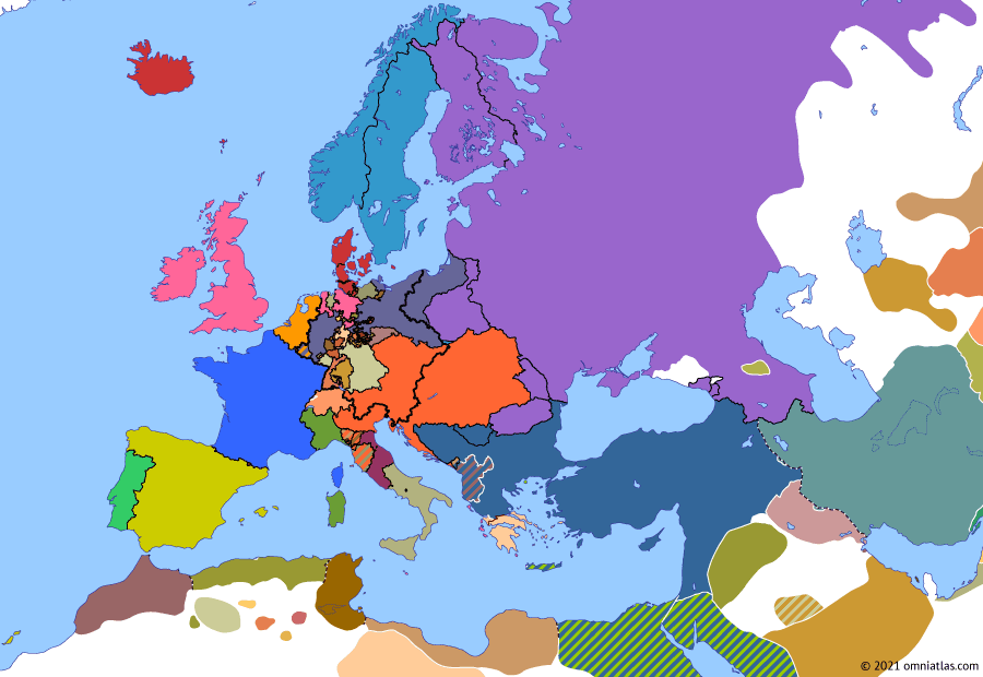 Political map of Europe & the Mediterranean on 14 Jun 1830 (Congress Europe: French invasion of Algeria), showing the following events: Treaty of Adrianople; London Protocol; Algiers Expedition.