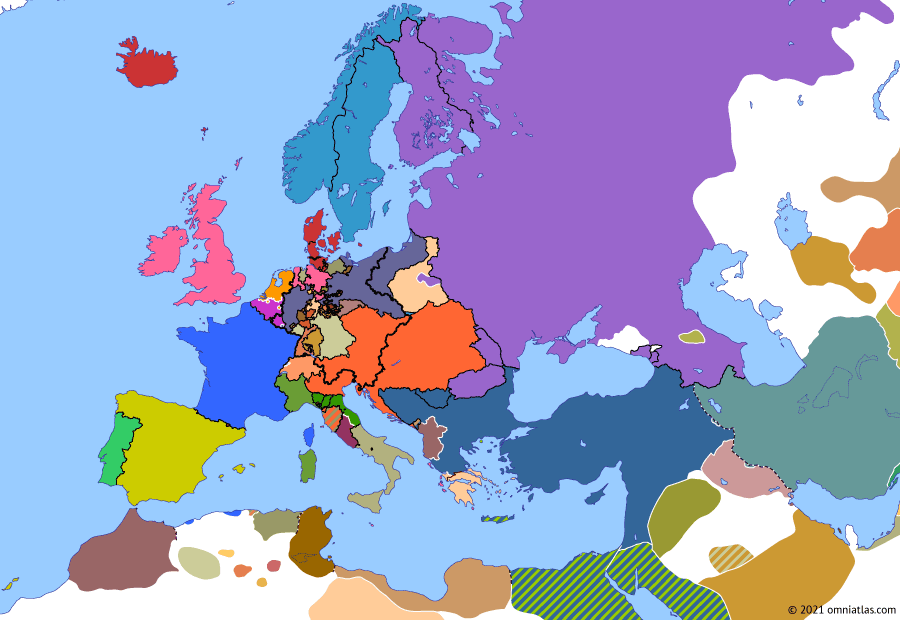 Political map of Europe & the Mediterranean 26 February 1831 (November Uprising in Poland): When revolutions broke out in France (July Revolution) and Belgium (Belgian Revolution) in 1830, the conservative Russian government decided to send its Polish Army to help suppress them. Rather than accept this decision, the Poles revolted themselves, tying the Russians down well into 1831 (November Uprising). When Russia finally prevailed, it completely annexed Poland, ending its existence as an autonomous kingdom (Organic Statute of the Kingdom of Poland).