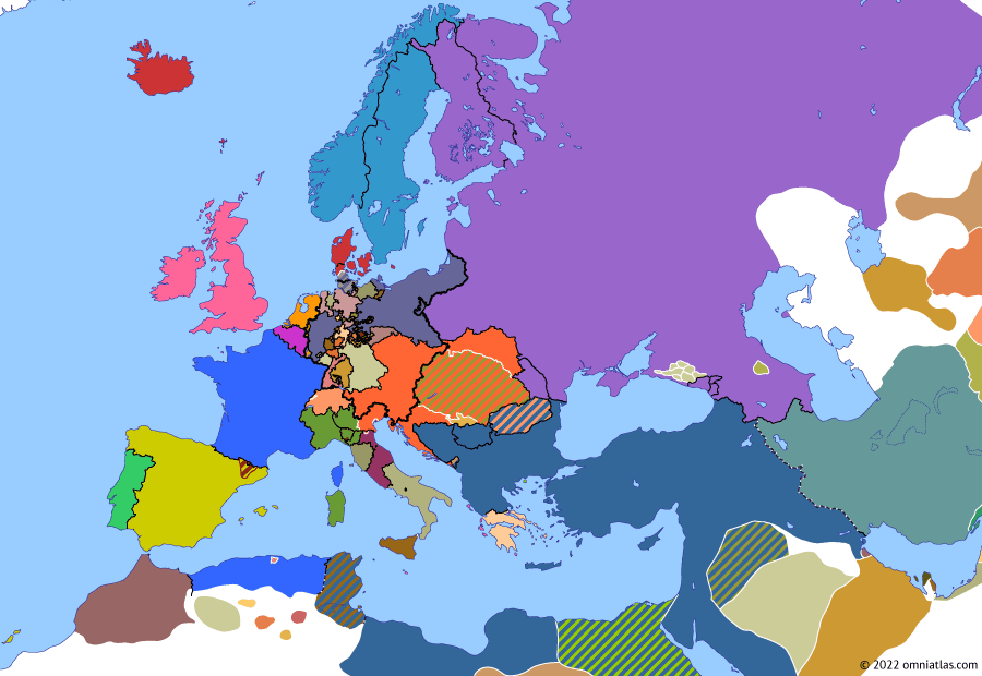 Political map of Europe & the Mediterranean on 24 Jul 1848 (The Springtime of Peoples: First Battle of Custoza), showing the following events: Election of Archduke John of Austria; Russian invasion of Moldavia; Battle of Custoza.