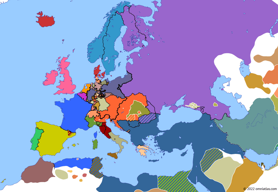 Political map of Europe & the Mediterranean on 23 Mar 1849 (The Springtime of Peoples: Battle of Novara), showing the following events: Austrians capture Buda-Pest; Roman Republic (19th Century); Tuscan Republic; March Constitution of Austria; Sardinia breaks truce with Austria; Naples resumes war in Sicily; Battle of Novara.