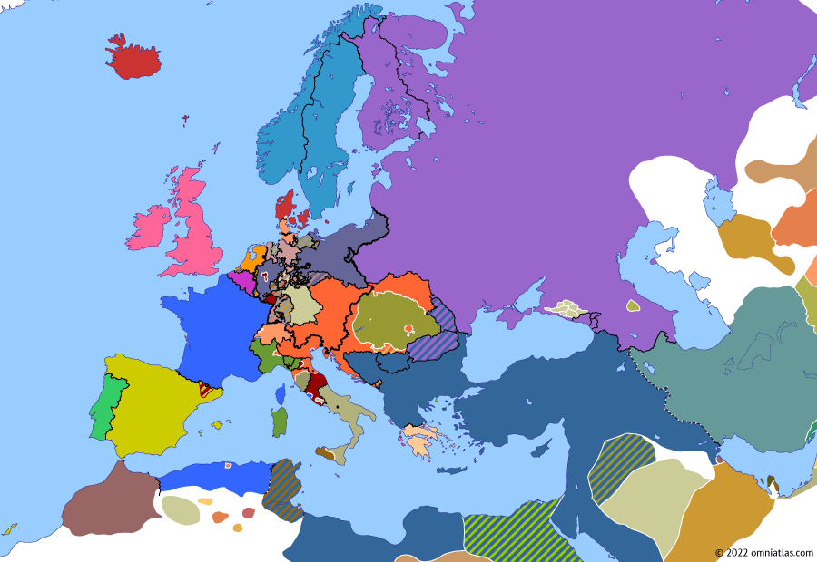 Political map of Europe & the Mediterranean on 09 May 1849 (The Springtime of Peoples: May Uprisings), showing the following events: Battle of Buda; French land near Rome; Austria overruns Tuscany; Palatine Uprising; May Uprising in Dresden; Frankfurt parliament demands all German states accept constitution; Unrest in Prussian Rhineland.