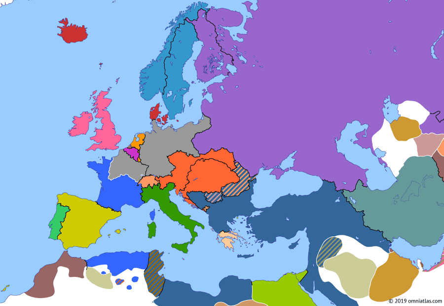 Political map of Europe & the Mediterranean on 28 Jan 1871 (German Unification: Unification of Germany and Fall of Paris), showing the following events: Rome becomes capital of Italy; Proclamation of German Empire; Proclamation of German Empire; Capitulation of Paris.